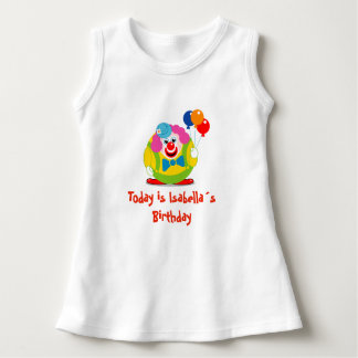 Cute fun cartoon circus clown with a big red nose, dress