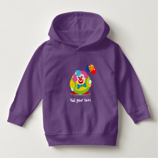 Cute fun cartoon circus clown with a big red nose, hoodie