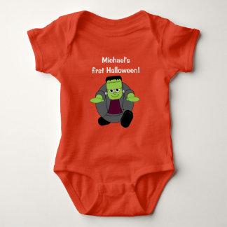 Cute fun cartoon of a green Halloween Frankenstein Baby Bodysuit