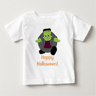 Cute fun cartoon of a green Halloween Frankenstein Baby T-Shirt