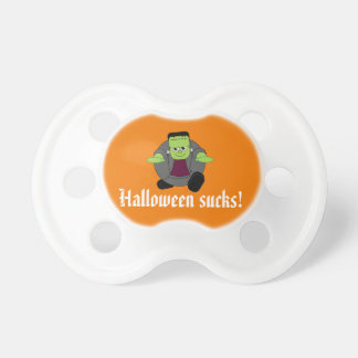 Cute fun cartoon of a green Halloween Frankenstein Pacifier