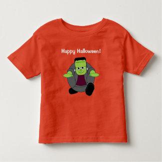 Cute fun cartoon of a green Halloween Frankenstein Toddler T-shirt
