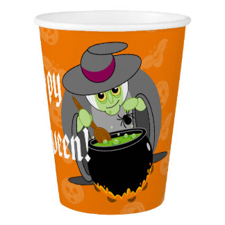 Cute fun cartoon of a green Halloween wicked witch Paper Cup