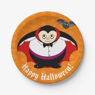 Cute fun cartoon of a Halloween Count Dracula, Paper Plate