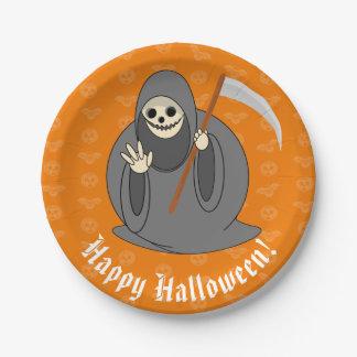 "Cute fun cartoon of a Halloween ""Death"", Paper Plate"