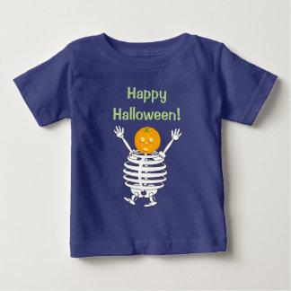 Cute fun cartoon of a pumpkin headed skeleton, baby T-Shirt
