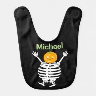 Cute fun cartoon of a pumpkin headed skeleton, bib