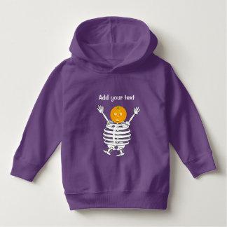 Cute fun cartoon of a pumpkin headed skeleton, hoodie