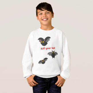 Cute fun cartoon of Halloween black vampire bats, Sweatshirt
