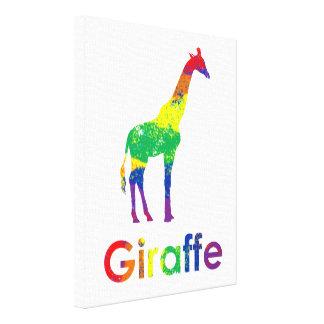 Cute, Fun, Colorful Abstract Rainbow Giraffe Canvas Print