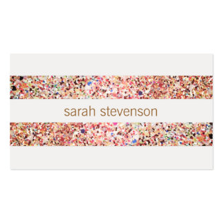 Cute Fun Colorful Confetti Stripes Business Card