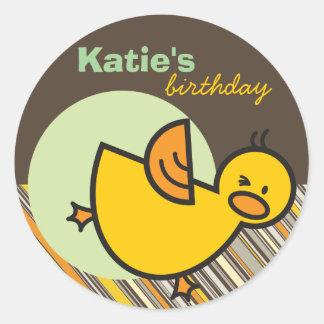 Cute Fun Duckies Ducks Children Kid Birthday Party Classic Round Sticker