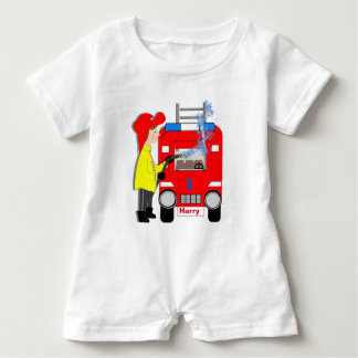 Cute Fun Fire-fighter Truck Personalized Baby Romper