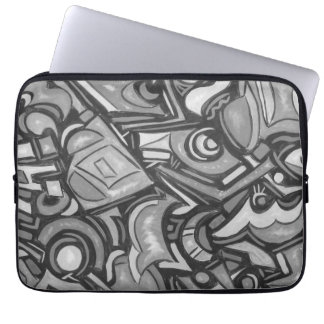 Cute Fun Funky Bold Whimsical Shapes-Abstract Art Laptop Sleeve