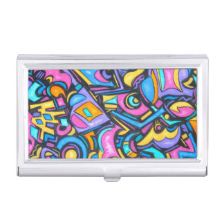 Cute Fun Funky Colorful Bold Whimsical Shapes Business Card Cases