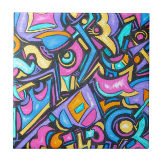 Cute Fun Funky Colorful Bold Whimsical Shapes Ceramic Tile