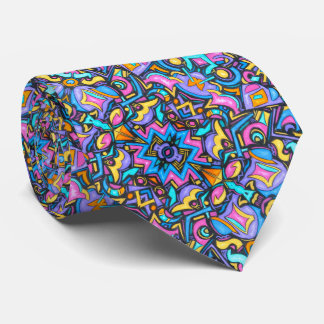 Cute Fun Funky Colorful Bold Whimsical Shapes Tie