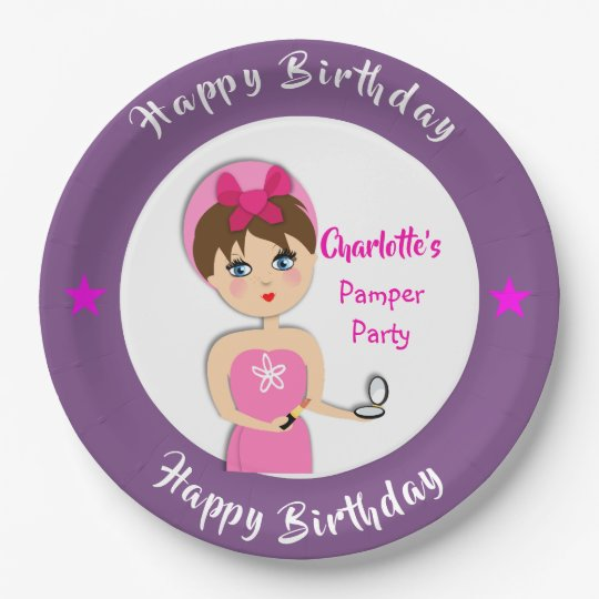 Cute Fun Girly Pamper Spa Party Personalized Paper Plate