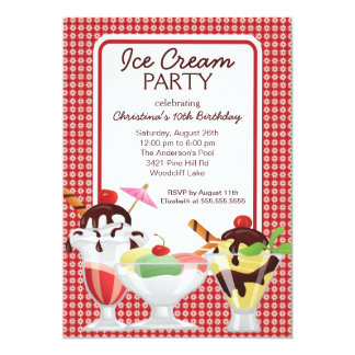 Cute Fun Ice Cream Sundae Birthday Party Card