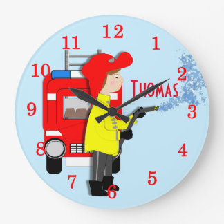 Cute Fun Kids Cartoon Fire-Fighter Truck Themed Wall Clocks