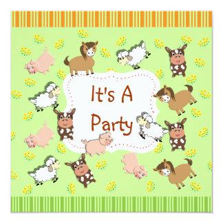 "Cute Fun Kids Farm Animals Themed Party 5.25"" Square Invitation Card"