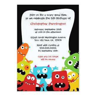 Cute fun monsters boy's birthday party invitation