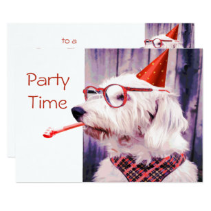 Cute Fun Puppy Dog Themed Birthday Party Card