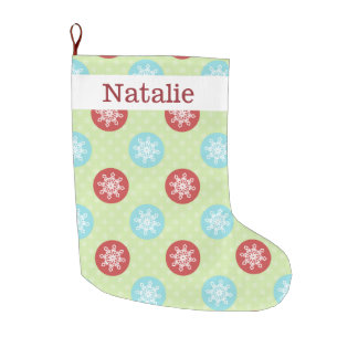 cute fun red green, snowflakes stockings large christmas stocking