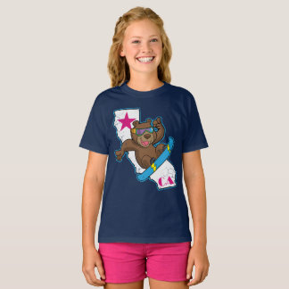 Cute Fun Retro California Bear Snowboarder T-Shirt