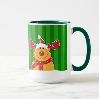 Cute Fun Rudolph Christmas Snowflakes Pattern Mug