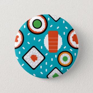 Cute fun seamless pixel sushi cartoon pattern 2 inch round button