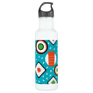 Cute fun seamless pixel sushi cartoon pattern 710 ml water bottle