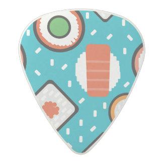 Cute fun seamless pixel sushi cartoon pattern acetal guitar pick