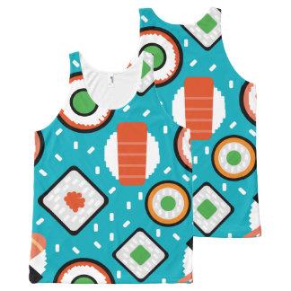 Cute fun seamless pixel sushi cartoon pattern All-Over-Print tank top