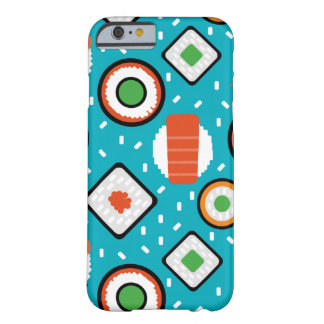 Cute fun seamless pixel sushi cartoon pattern barely there iPhone 6 case