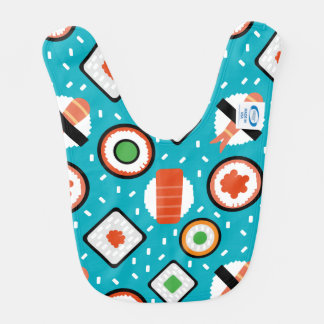Cute fun seamless pixel sushi cartoon pattern bib