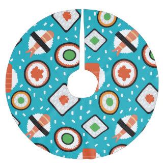 Cute fun seamless pixel sushi cartoon pattern brushed polyester tree skirt