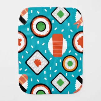 Cute fun seamless pixel sushi cartoon pattern burp cloth