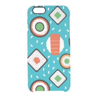 Cute fun seamless pixel sushi cartoon pattern clear iPhone 6/6S case