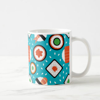 Cute fun seamless pixel sushi cartoon pattern coffee mug