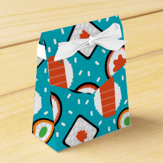 Cute fun seamless pixel sushi cartoon pattern favor box