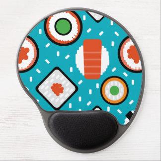 Cute fun seamless pixel sushi cartoon pattern gel mouse pad