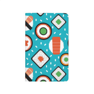 Cute fun seamless pixel sushi cartoon pattern journal