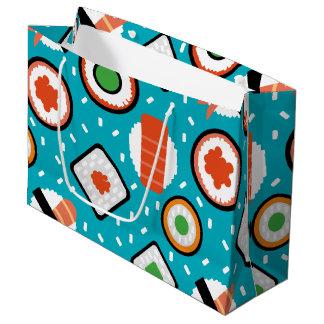Cute fun seamless pixel sushi cartoon pattern large gift bag