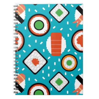 Cute fun seamless pixel sushi cartoon pattern notebooks