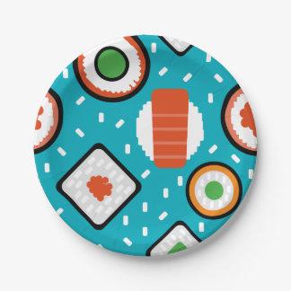 Cute fun seamless pixel sushi cartoon pattern paper plate