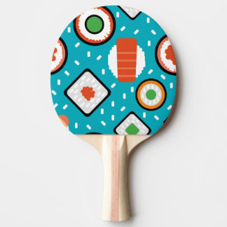 Cute fun seamless pixel sushi cartoon pattern ping pong paddle