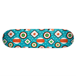 Cute fun seamless pixel sushi cartoon pattern skate board decks