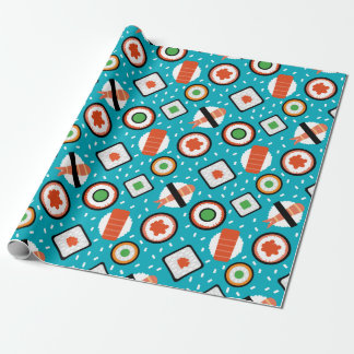 Cute fun seamless pixel sushi cartoon pattern wrapping paper