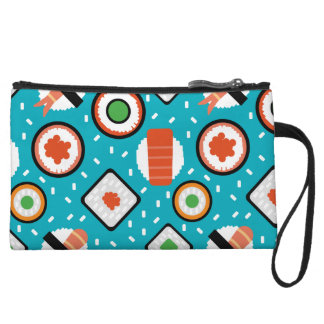 Cute fun seamless pixel sushi cartoon pattern wristlet